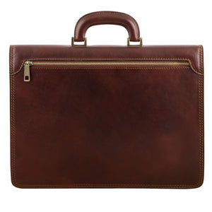 Rear View With Zipper Of The Brown Leather Briefcase Bag