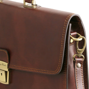 Shoulder Strap Attachment Of The Brown Amalfi Leather Briefcase Bag