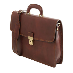 Angled View Of The Brown Leather Briefcase Bag