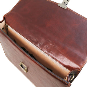 Top View Of The Brown Exquisite Leather Briefcase Bag