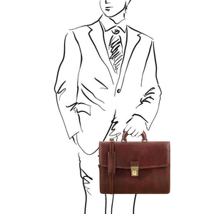 Sketch Of Man Holding The Brown Amalfi Leather Briefcase Bag
