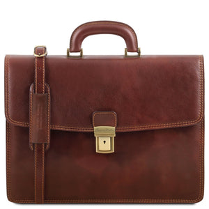 Front View Of The Brown Leather Briefcase Bag
