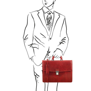 Sketch Of Man Holding The Red Amalfi Leather Briefcase Bag