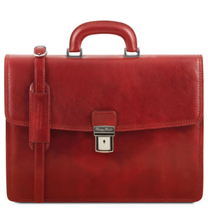 Front View Of The Red Amalfi Leather Briefcase Bag