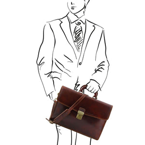 Sketch Of Man With The Original Brown Leather Briefcase