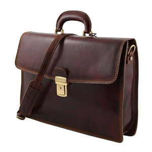 Angled View Of The Amalfi Original Brown Briefcase