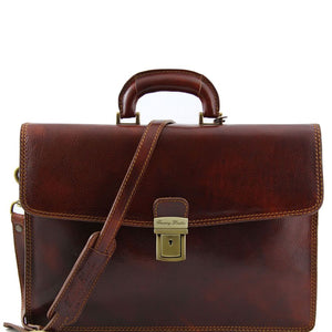 Front View Of The Amalfi Original Brown Leather Briefcase