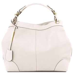 Front View Of The White Leather Handbag