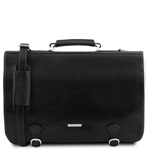 Front View Of The Black Messenger Bag For Men