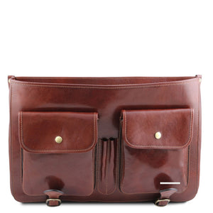 Front Pockets View Of The Brown Messenger Bag For Men