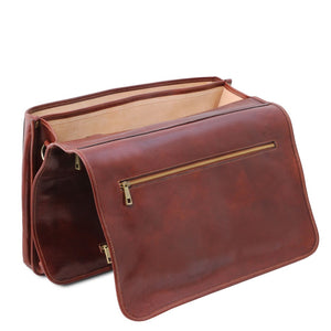 Opening Flap View Of The Brown Messenger Bag For Men