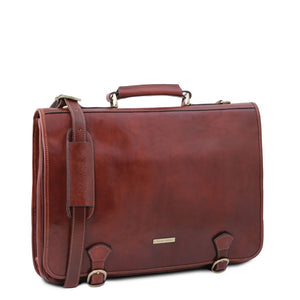 Angled View Of The Brown Messenger Bag For Men