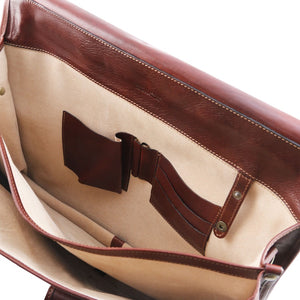 Internal Features View Of The Brown Messenger Bag For Men