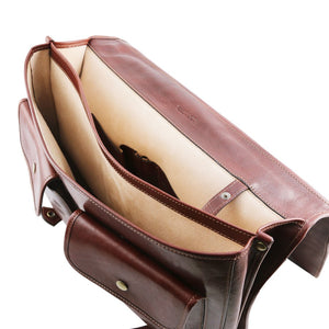 Internal Compartments View Of The Brown Messenger Bag For Men
