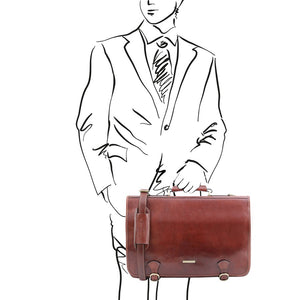 Man Posing With The Brown Messenger Bag For Men