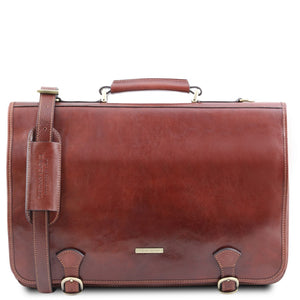 Front View Of The Brown Messenger Bag For Men