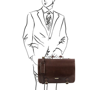 Man Posing With The Dark Brown Messenger Bag For Men