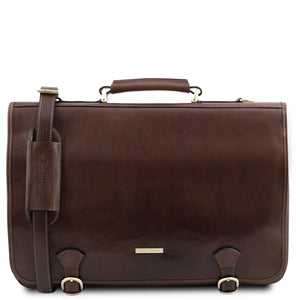 Front View Of The Dark Brown Messenger Bag For Men
