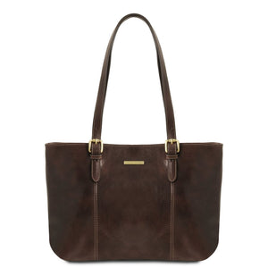 Front View Of The Dark Brown Annalisa Leather Shopping Bag