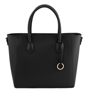 Front View Of The Black Womens Leather Tote Handbag