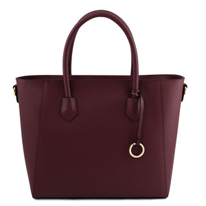 Front View Of The Bordeaux Womens Leather Tote Handbag