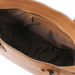 Internal Zip Pocket View Of The Cognac Womens Leather Tote Handbag