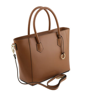 Angled And Shoulder Strap View Of The Cognac Womens Leather Tote Handbag