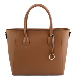 Front View Of The Cognac Womens Leather Tote Handbag