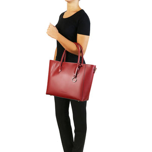 Women Posing With The Red Womens Leather Tote Handbag