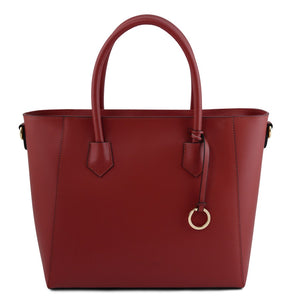 Front View Of The Red Womens Leather Tote Handbag