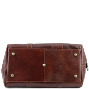 Underneath View Of The Brown Aristocratic Leather Duffle Bag Small