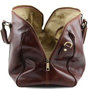 Opening Bag View Of The Brown Leather Duffle Bag Small