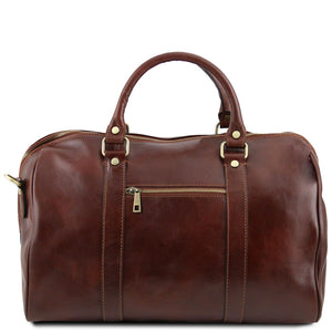 Rear View Of The Brown Aristocratic Leather Duffle Bag Small