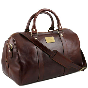 Angled View Of The Brown Aristocratic Leather Duffle Bag Small