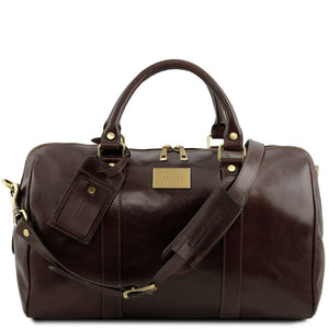 Front View Of The Dark Brown Aristocratic Leather Duffle Bag Small