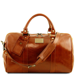 Front View Of The Honey Aristocratic Leather Duffle Bag Small