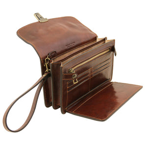 Right Angled Features View Of The Brown Arthur Exclusive Mens Leather Wrist Bag
