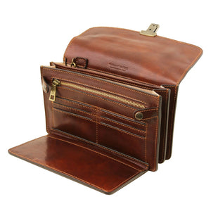 Left Angled Features View Of The Brown Exclusive Mens Wrist Bag