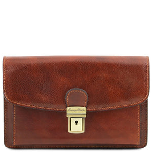 Front View Of The Brown Arthur Exclusive Mens Leather Wrist Bag