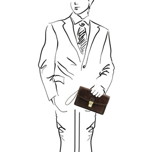 Sketch Of Man Posing With The Dark Brown Arthur Exclusive Mens Leather Wrist Bag