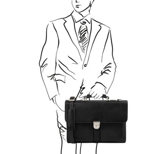 Man Posing With The Black Leather Attache Briefcase