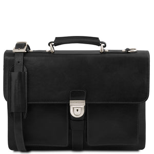 Front View Of The Black Leather Attache Briefcase