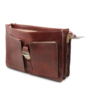 Front Pockets View Of The Brown Leather Attache Briefcase