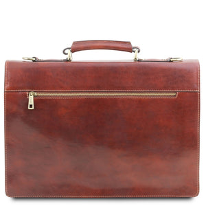 Rear Zip Compartment View Of The Brown Leather Attache Briefcase