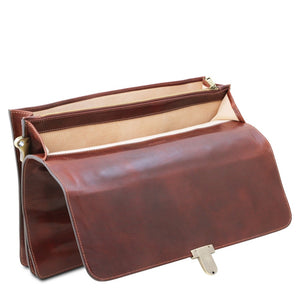 Opening Flap View Of The Brown Leather Attache Briefcase
