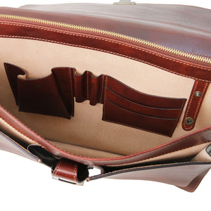 Internal Features View Of The Brown Leather Attache Briefcase