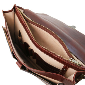 Internal Compartments View Of The Brown Leather Attache Briefcase