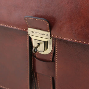 Key And Lock View Of The Brown Leather Attache Briefcase