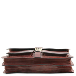 Underneath View Of The Brown Leather Attache Briefcase
