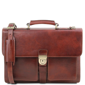 Front View Of The Brown Leather Attache Briefcase